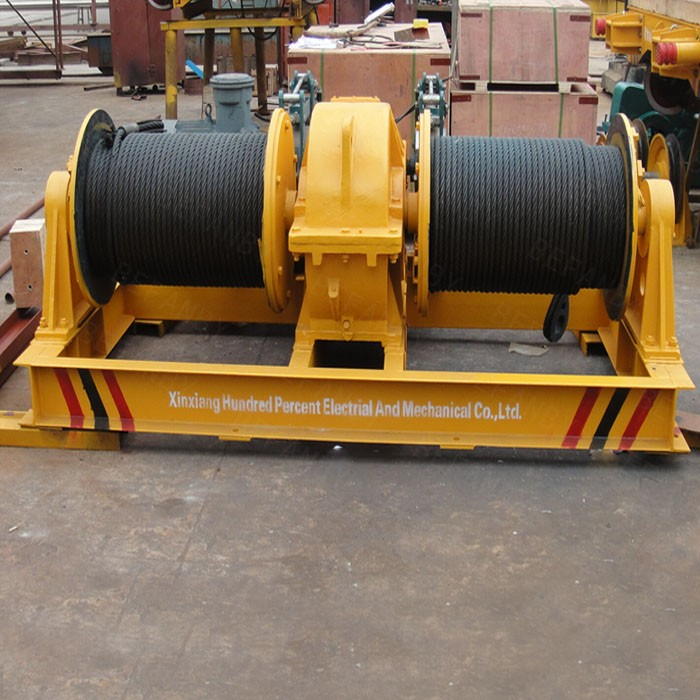 Fast speed double drum electrical wire rope winch for shipyard apply
