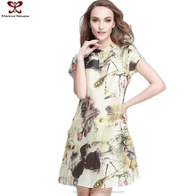 2016 Summer Fashion Printed Short Sleeve Ladies Brand Name XXXL Size Linen Dress