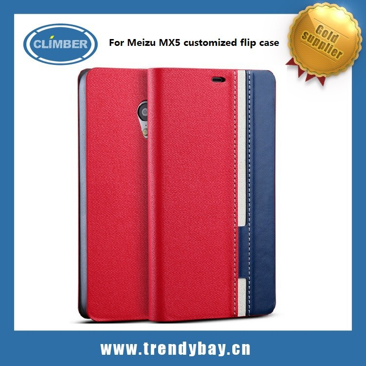 Customized leather flip case for meizu mx5