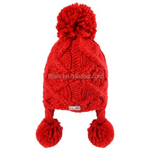 High quality wholesale winter woman cable pattern earflap hat