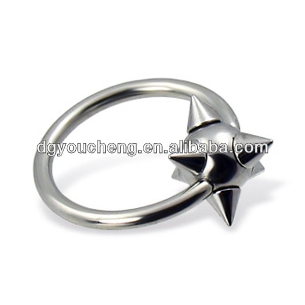 316L stainless steel spike industrial piercing rings