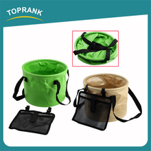 Portable foldable water bucket multifunctional 500D collapsible bucket for camping hiking