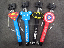 custom Cable Wired Selfie Handheld Stick Monopod ,cartoon wired Selfie Stick with logo