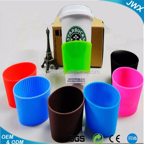 Reusable Cup Sleeve,Heat Resistant Black Coffee Sleeve,Custom Waterproof Silicone Coffee Cup Sleeve