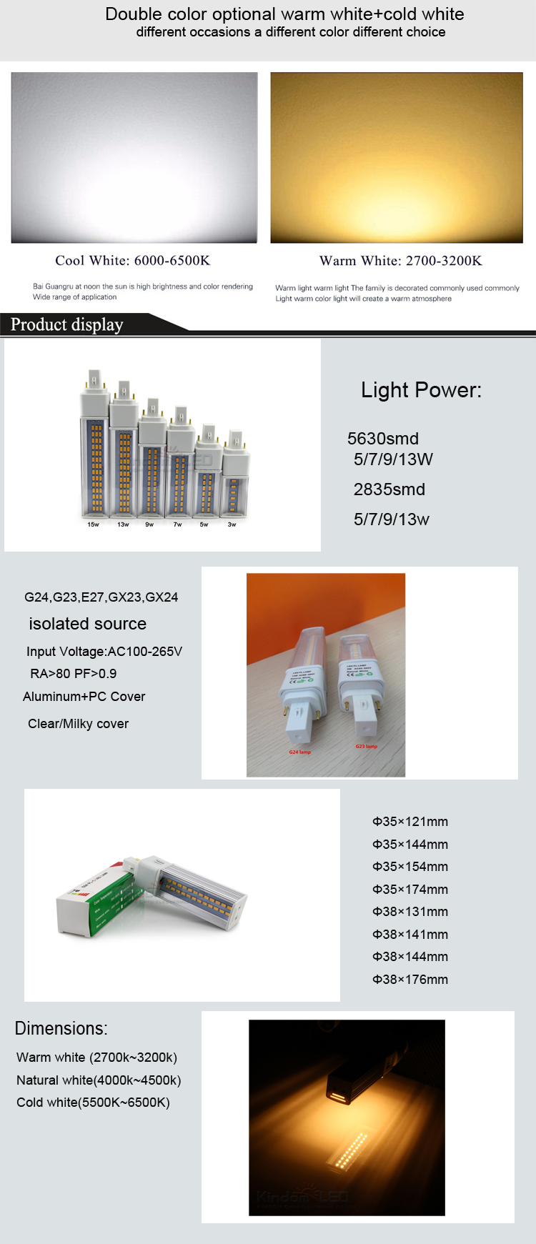 Color Box packing RA>80 Isolate Source G24 PL 13W Led Lamp 4000K 3000K 6000K