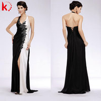 Backless black-white classic V-neck Chinese style satin new dress leg open prom dress 1368