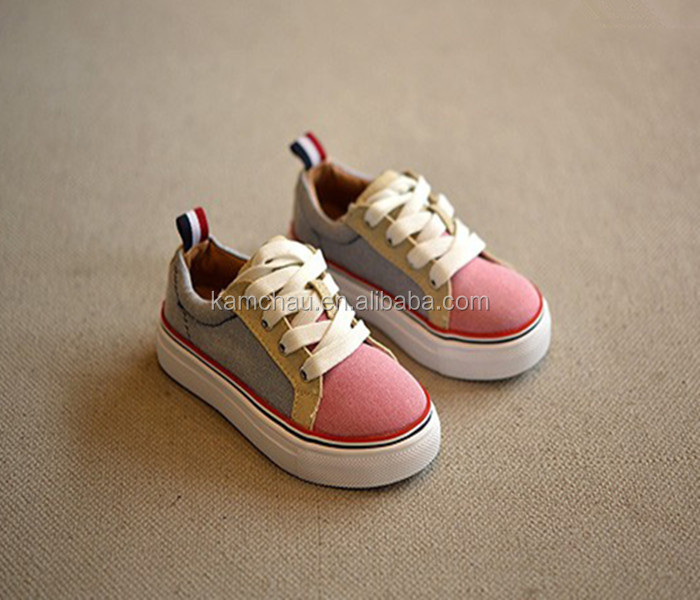 China professional supplier fashion design lace up little junior kid girl pink casual canvas sneakers shoes with heel