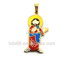 Hot Sell Religious Goddess Jewelry Gold Plated Stainless Steel Catholic Image Epoxy Our Father Jesus Cross Pray For Us Pendant