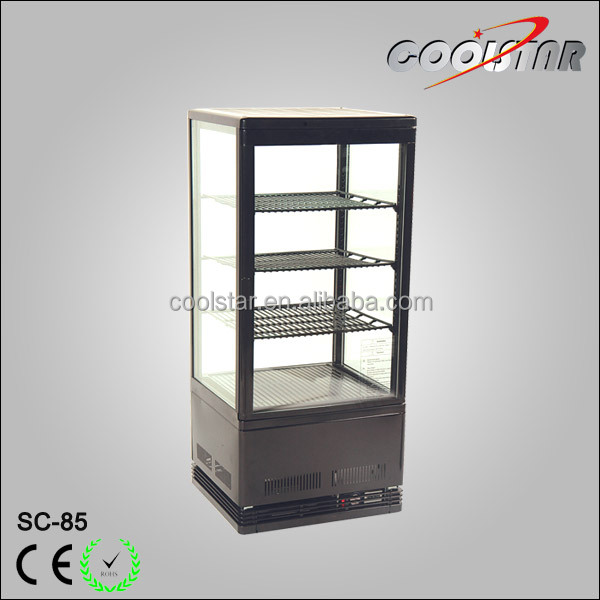 Commercial countertop four glass refrigerator