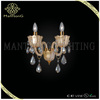Hot sale modern style gold glass lamp body with crystal pendants wall light