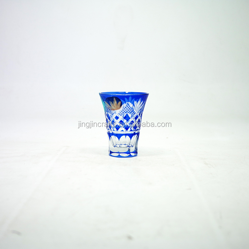 2018 popular 45ml Wholesale Colored Engraved Glass Tumbler Tea Cup