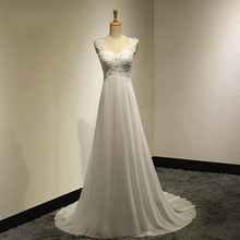 Vestidos de novia Custo made white ivory Chiffon Appliques Beadings Long beach wedding dress Wedding gowns