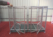 Large Foldable Stainless Steel Pet Dog Cage with wheels