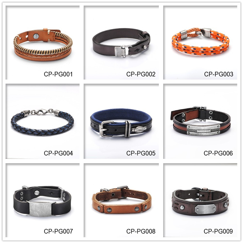 Hottime Good Quality 316L Stainless Steel Charms Anchor Bracelet For Men Fashion Orange Color Italian Genuine Leather Jewelry