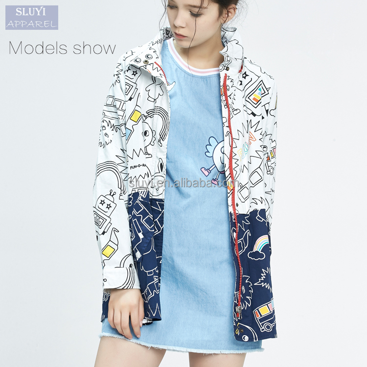 Long section spell color windbreaker cartoon character graffiti hood straight jacket coat