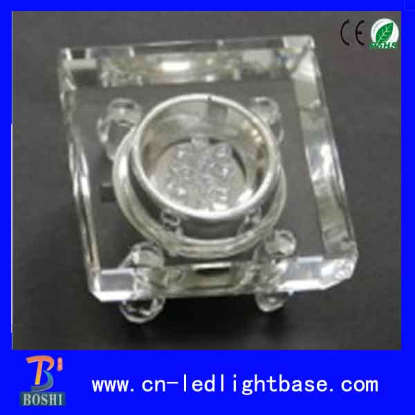 7cm Transparent square glass multi color led light base for crystal and vases