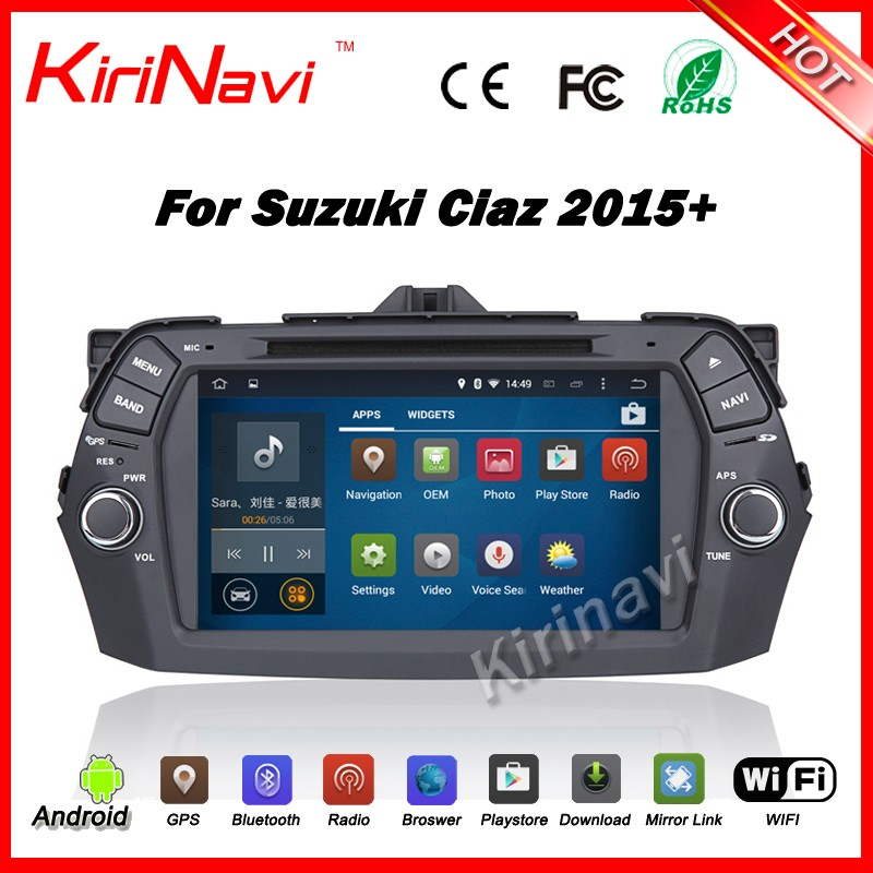 Kirinavi WC-SC8075 Android 5.1 car multimedia gps navigation for suzuki ciaz 2015-2016 mp3/mp4 touch screen DVD player