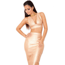 2015 New Sexy Gold Print Two Piece Bandage Dress Sleeveless Knee-Length Slim Summer Bodycon Dress
