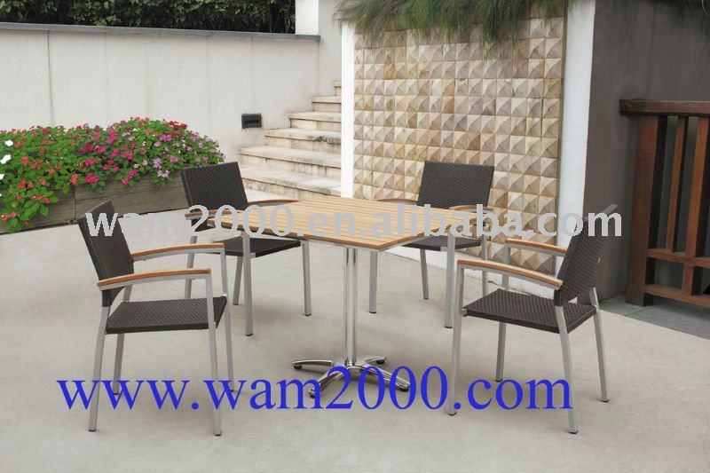 square poly wood dining table and pe rattan chairs for garden