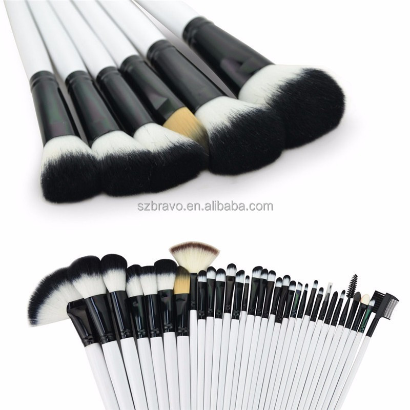 White 32 PCS Pink Wool Makeup Brushes Tools Set with PU Leather Case Cosmetic Facial Make up Brush Kit wholesale