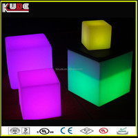 white PE plastic led cube chair with lighting colors