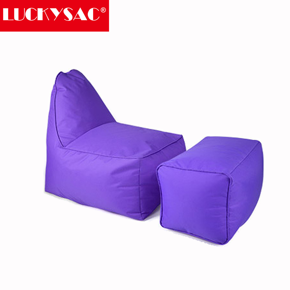 LUCKYSAC Wholesale L shape sleeping bean bag purple lounge indoor furniture cheap bean bag cover