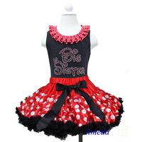 Red White Polk Dots Pettiskirt with Collar Bling Rhinestone Red Big Sister Black Tank Top 1-7Y