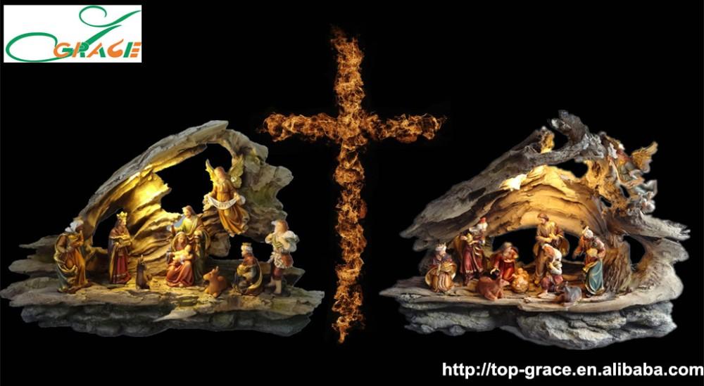 Atacado resina decoração de natal china conjunto natividade