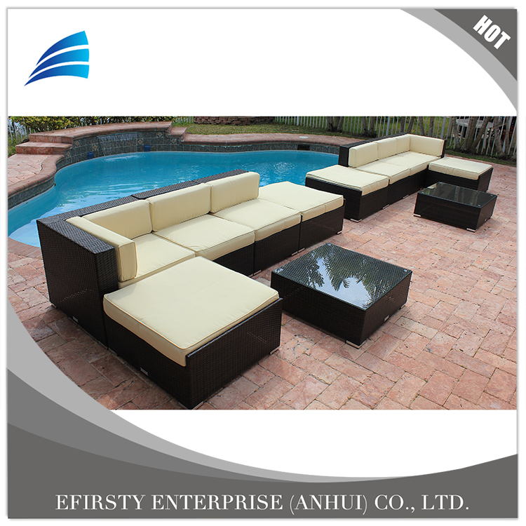 12 Piece Rattan Garden Furniture Modular Sectional Sofas Set