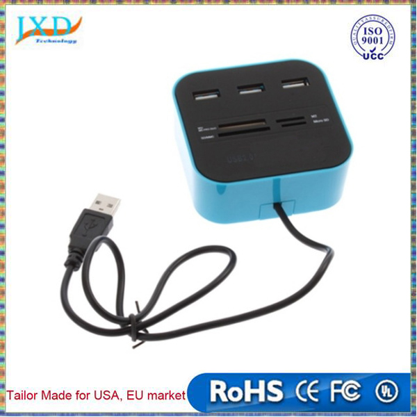 Hub & Multi-Card Reader blue 3 port usb hub 2.0 HUB with Micro multi card reader for SD/MMC/M2/MS/MP