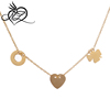 Loordon Stainless Steel Gold Plating Clover Heart Circle Pendant necklace