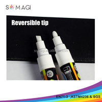 white color glass liquid chalk marker pen for laminated paper