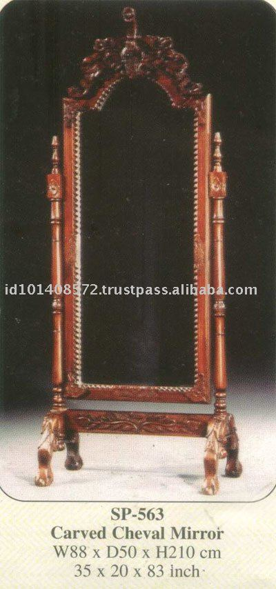 Carved Cheval Mirror Mahogany Indoor Furniture
