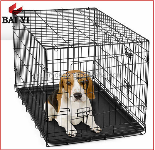 Collapse Stainless Steel Dog Crates / Cage With Metal Dog Kennel Tray