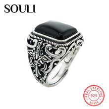 2018 Antique Men's Jewelry Designs S925 Sterling Silver Rings Big Natural Agate Stone Ring