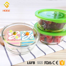 650ml*2 Round High Borosilicate Glass Meal Prep Food Storage Containers Microwave Refrigerator Glass Salad Bowl Set