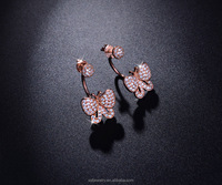 rose gold plated butterfly cubic zirconia indian jewellery earrings