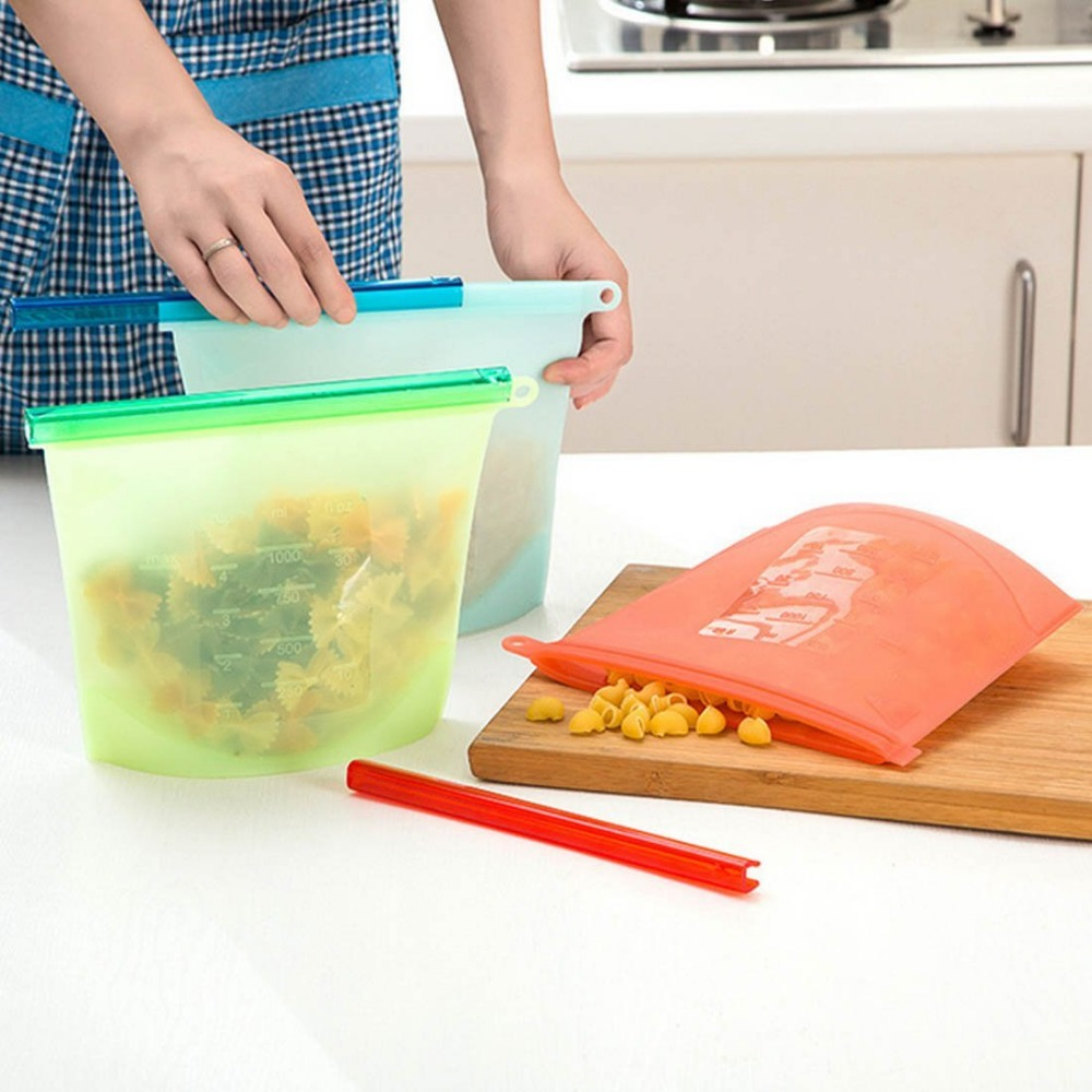 Reusable Vacuum Food Sealer Bags Silicone Food Storage Container Refrigerator Bag Kitchen Colored Ziplock Bags