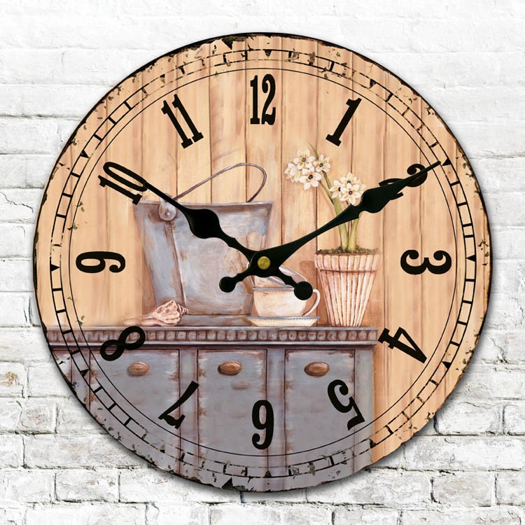 design cheap decorative funny art painting retro wood wall clock for kitchen