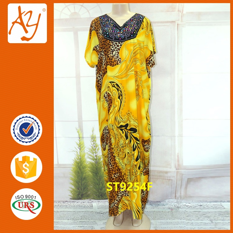Beautiful african attire designs plus size animal print cotton kaftan dress for ladies