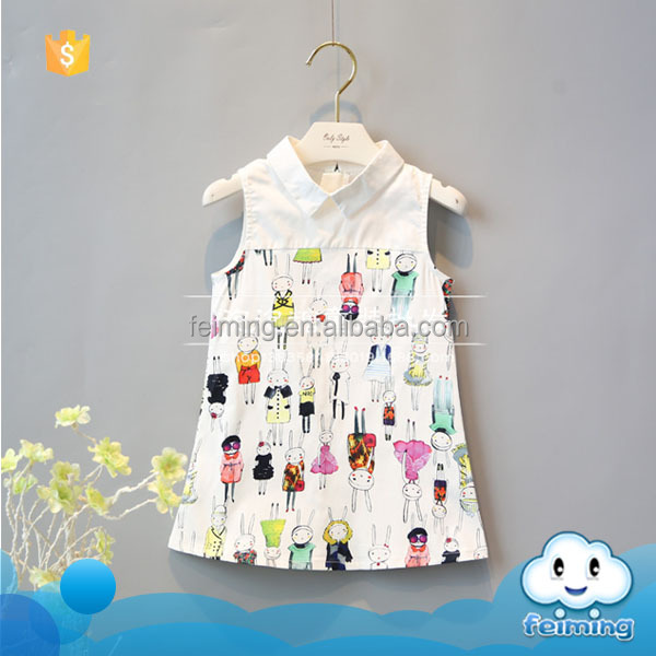 Baby cotton frocks desogns summer fancy animal pictures white fashion latest good quality comfortable girls dresses 2016