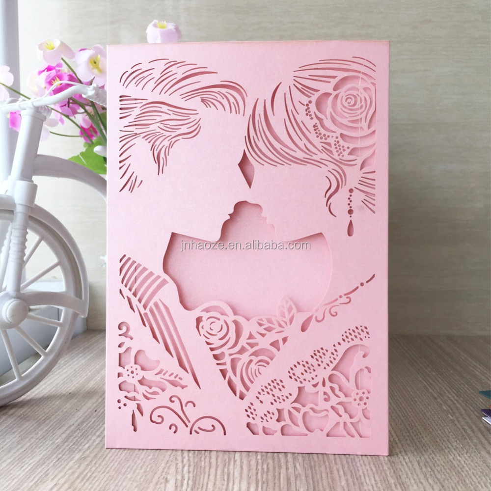 Free ship Customize Couple Romantic Wedding Guest Supplies Wedding Invitation Paper Cards Personalized Invitations wedding Card
