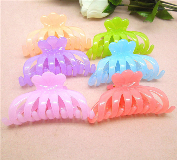 Fashion korean decorative plastic large flower hair claw clips