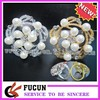 Gold and White Beaded Rhinestone Artificial Pearl Napkin Ring for Weddings