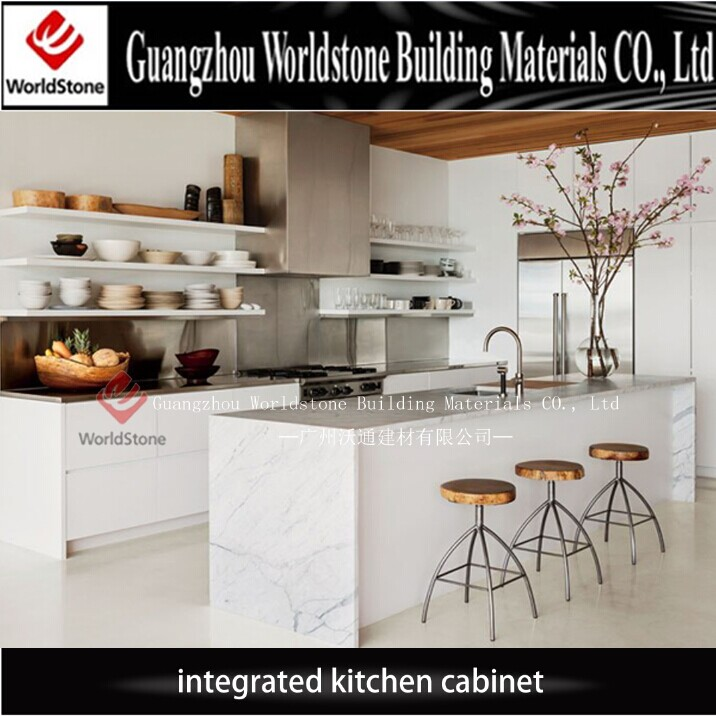 Laminated plywood kitchen cabinet with marble countertop for A z kitchen cabinets ltd