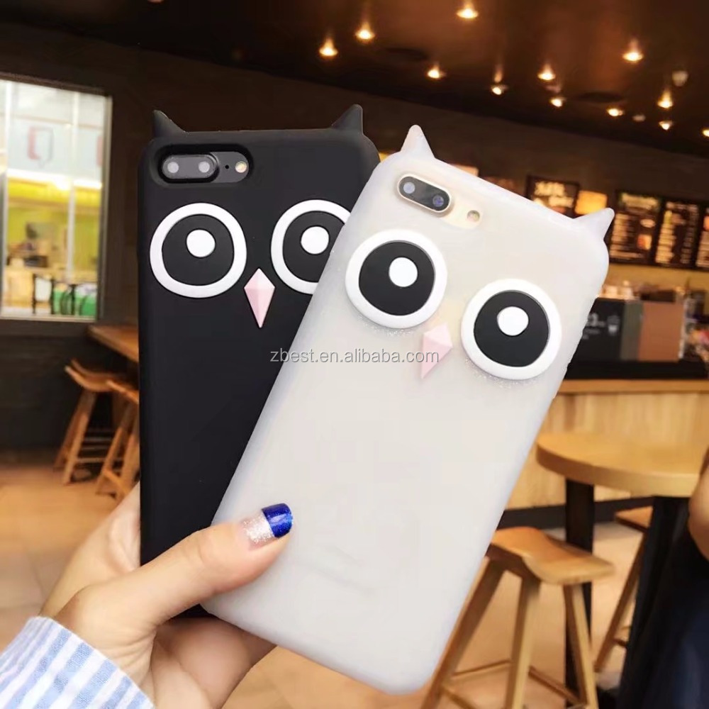 Hot Selling Cute Owl Case For iPhone 8 Plus Owl Silicon Phone Case Cover Cartoon Rubber Case