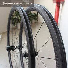 Winow 12K Matt finish 38mm Carbon composite clincher road bike wheels 25mm wide aero spokes 700c carbon fiber bike race wheels