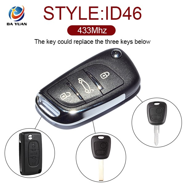 universal remote control car key for Peugeot 307 and Triumph ASK FSK 3 Button remote key 433MHZ [AK009031]