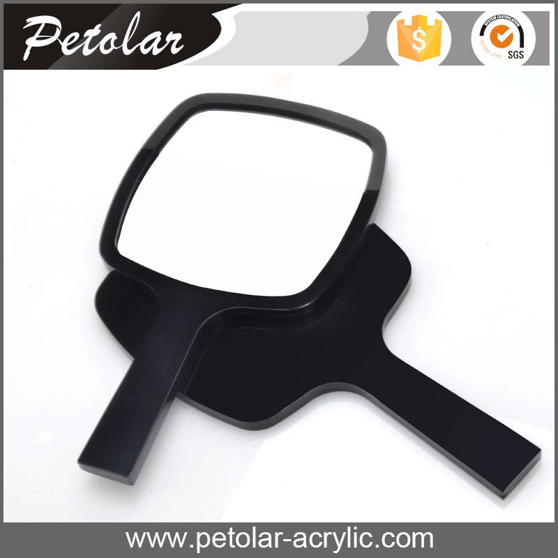 wholesale stock makeup black acrylic material hand mirror /plastic hand mirror