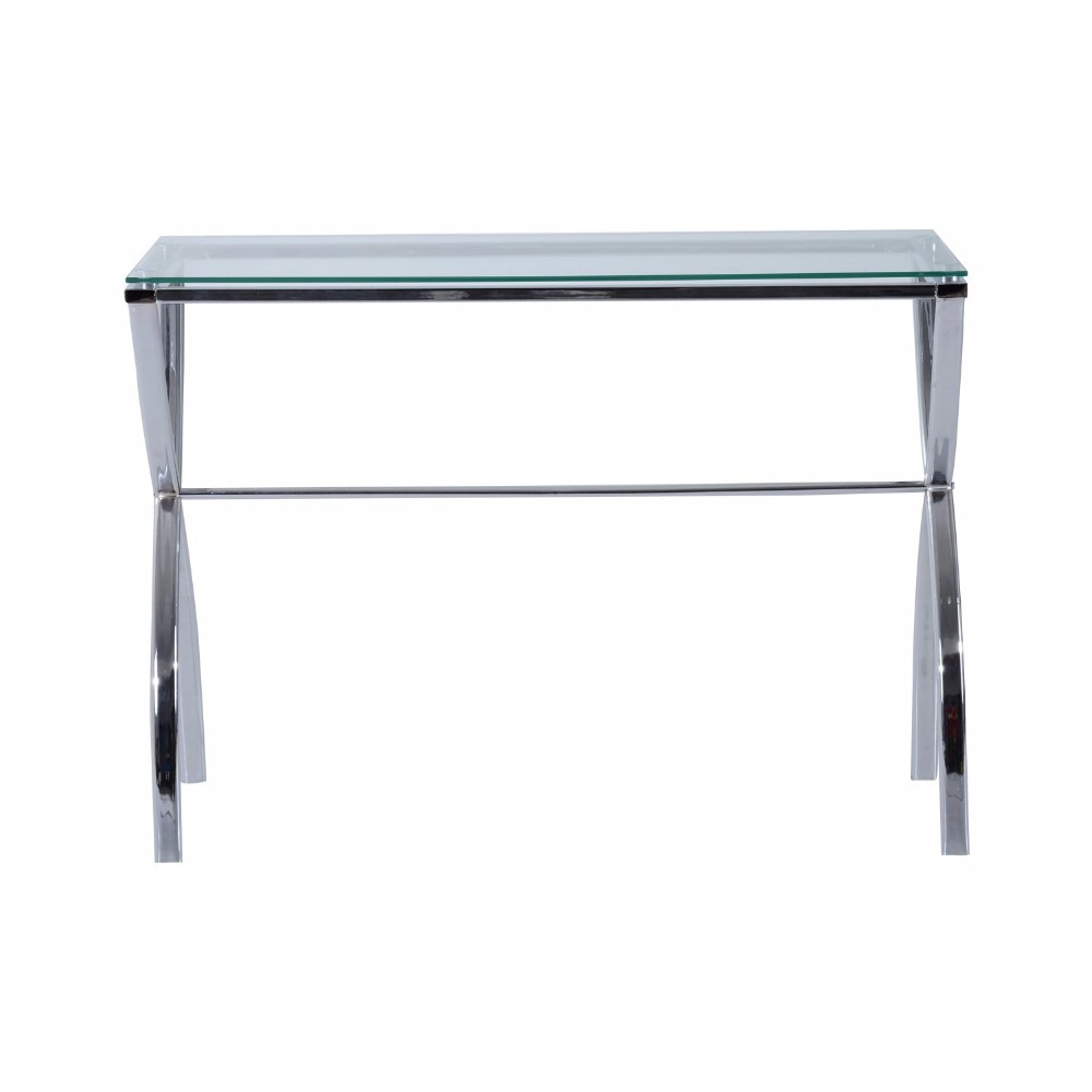 Contemporary Modern Chrome Glass Console Table For Entryway and Hallway
